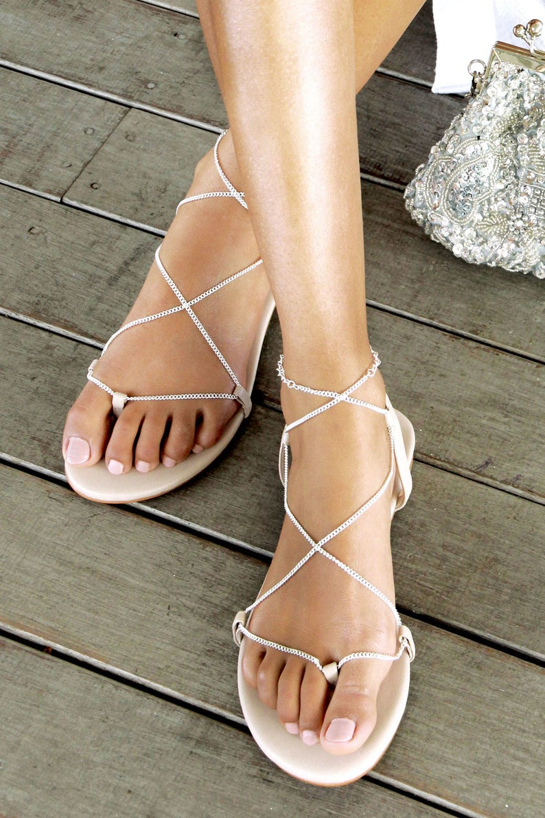59a8f66affc97 Silver chain flat sandals, Silver flats, nude leather sandal, bridal shoes,  flat wedding shoes, wedding flats, strappy sandal. Our world