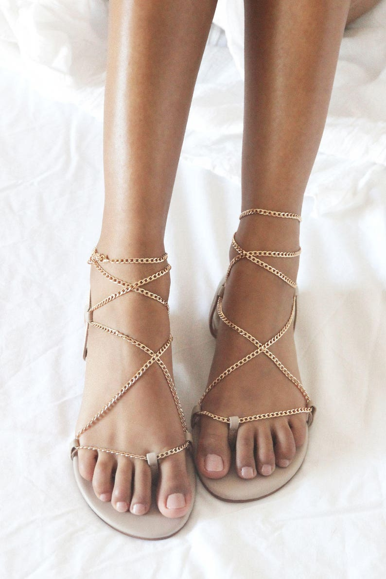 0101ab60c3a1 Nude flat sandals gold chains nude leather sandal flat