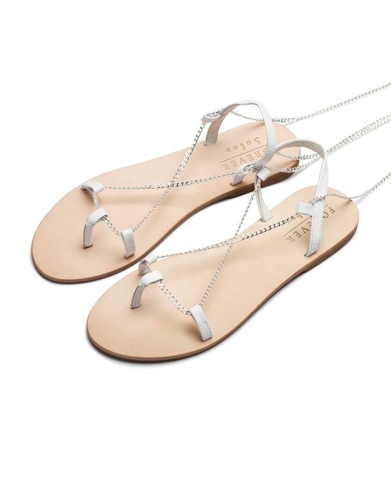 Ladies white flat sandal silver flats