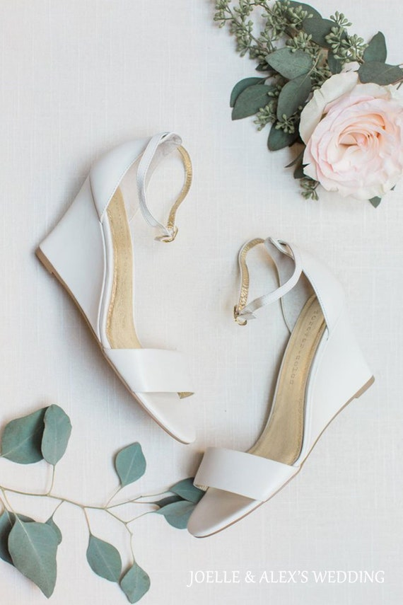 12769f37d74e Ivory bridal shoe Bridal wedge comfortable wedding shoes