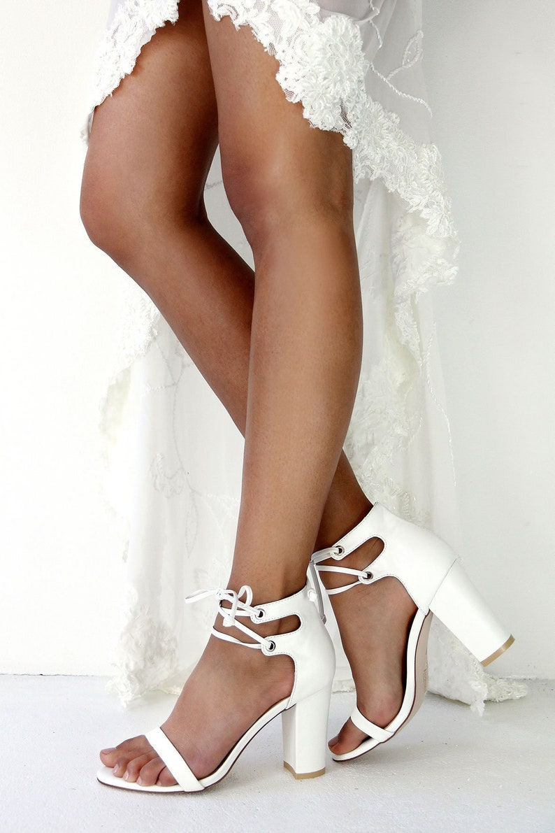 White Leather Block Heels Wedding Shoes comfortable Bridal