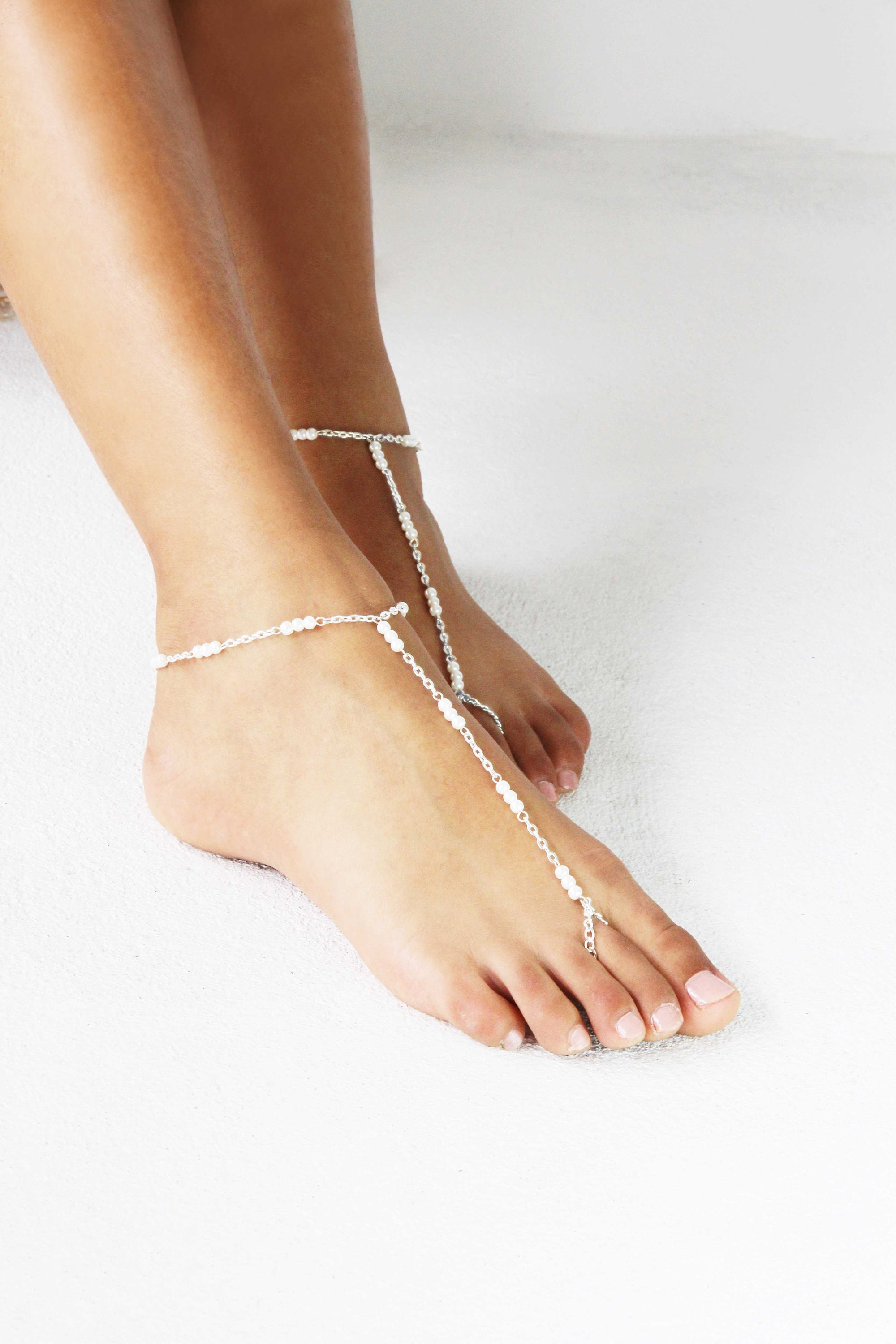 8eade3f5d Silver Barefoot Sandals Pearl and crystals anklets simple
