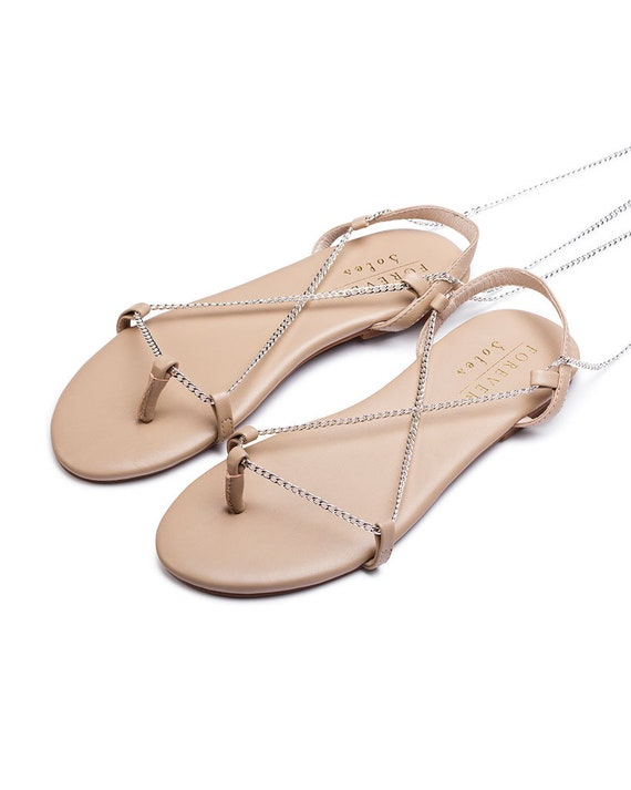 Silver chain flat sandals, Silver flats, nude leather sandal, bridal shoes, flat wedding shoes, wedding flats, strappy sandal. Our world