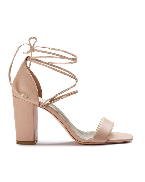 Nude Wedding Shoes, Nude Heels, Sandals, High Heels, Bridal Heels, Bridal Shoe, Bridesmaid shoe, Square Toe Wedding Heels nude straps. Isla