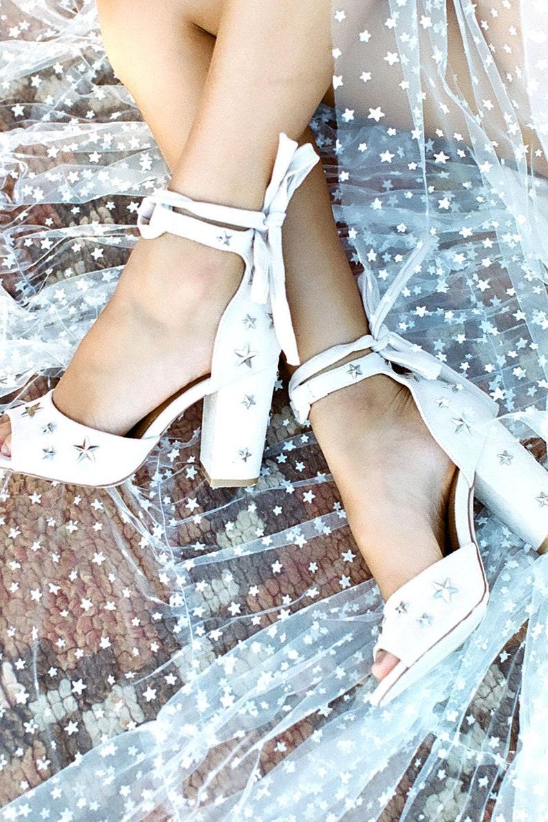 b4068f040a8fa Star Sandals, Wedding Sandals, Star shoes, Star heels, Star accessories,  Unique shoes, Block heeled shoes, modern wedding shoes. Stars