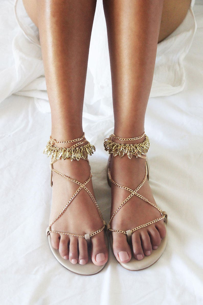 2b03c401f222 Gold flat sandals gladiator sandal nude leather sandal nude