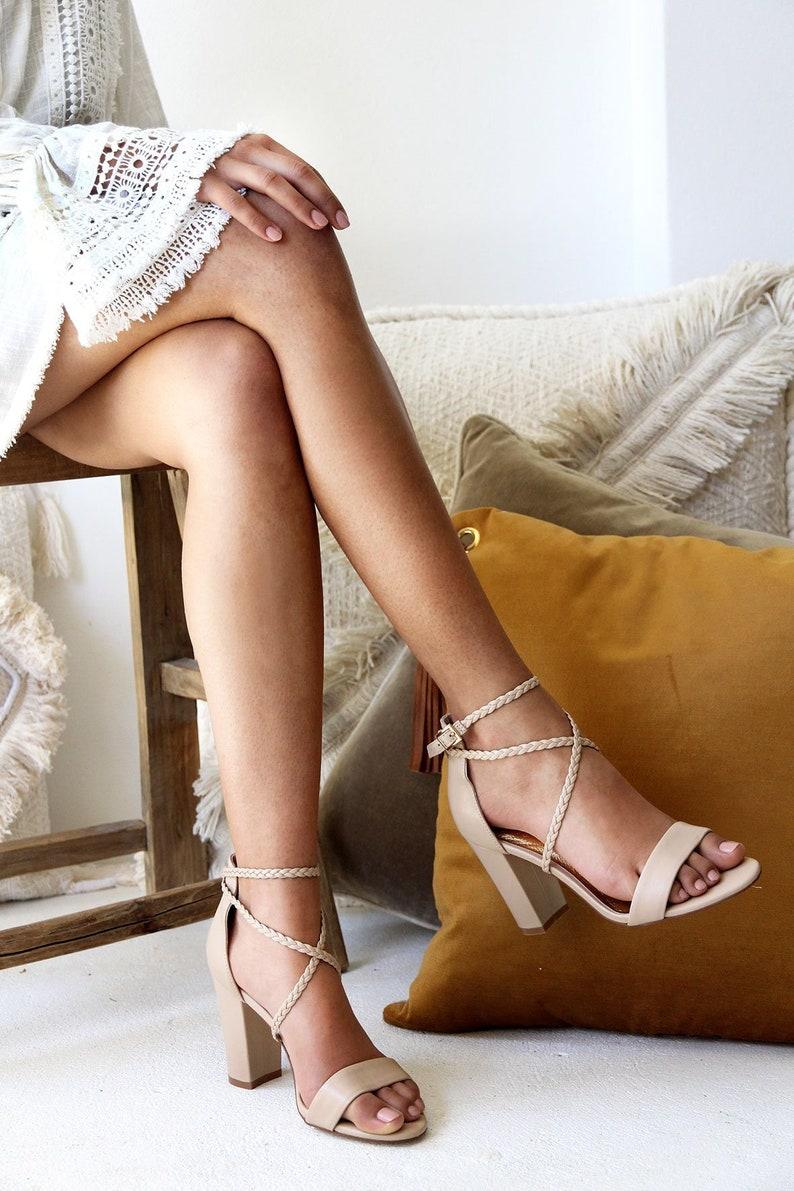 55ba5424c Women's nude bridal shoe nude leather heels block heel | Etsy