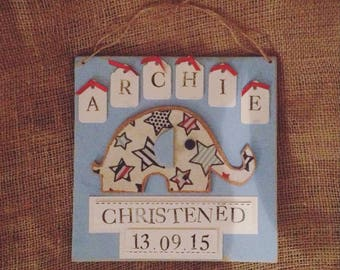 Personalised Wooden Christening/Birth Plaque. Personalised with Own Details. Cute Elephant, Bows and Little Labels.