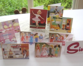 sindy doll christmas cards x 10 playscale 1/6