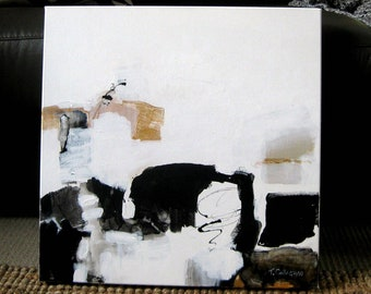 "Original Abstract Painting, Modern Art, Gold, Black & White, Trish Callaghan Art, 51 x 51 cm, (20 x 20"") Square Format"