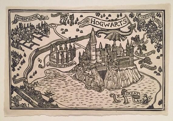 Hogwarts Karte Block Druck Etsy