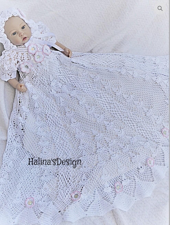 163b5343489e Heirloom crochet christening pattern thread crochet | Etsy