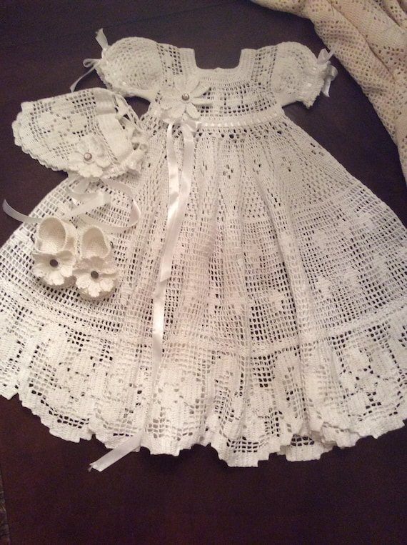 F&SC crochet pattern filet christening gown outfit baby   Etsy