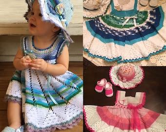 Seashell by the seashore crochet summer dress pattern, baby dress, crochet pattern, thread crochet, dress outfit, baby crochet, pinwheel