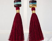 Lampwork Glass Silk Tassel Earrings, on 18k Gold-fill Leverbacks, Dangles Earrings, One Of A Kind, Statement Earrings