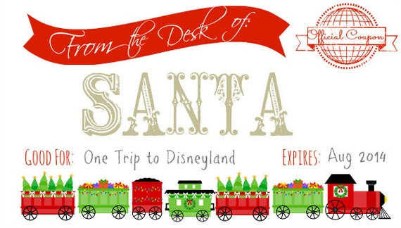 Printable Santa Coupon For Christmas Etsy