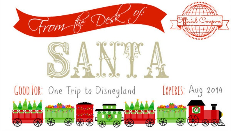 graphic relating to Disneyland Printable Coupons named Printable Santa Coupon for Xmas