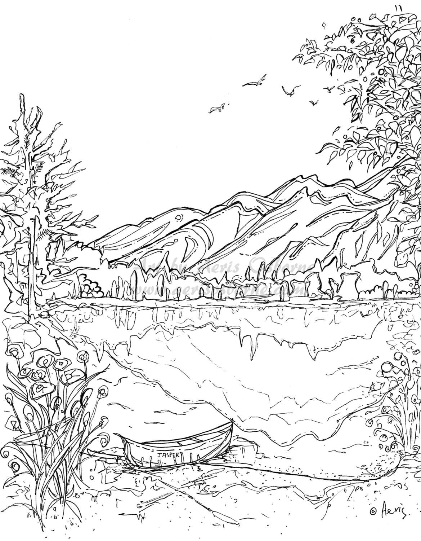 Serenity Jasper Landscape Printable Coloring Page Canoe | Etsy