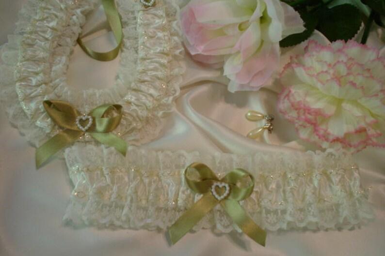 Cream and Gold Garter Wedding Garter Bridal Garter