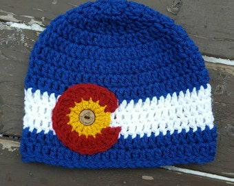 CO state flag beanie, Colorado beanie, Colorado  hat, traditional Colorado flag beanie in Blue, winter hat,beanie,CO hat, mens, women's,gift