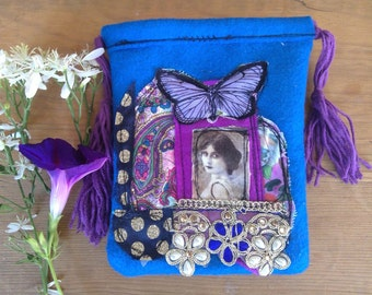 WEEKEND PRICE small drawstring pouch in royal blue with vintage lady