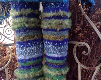 WEEKEND PRICE handknit leg warmers rustic chunky, textured, with WOOL, artist's design