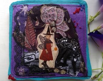 RESERVED textile folder, mixed media, textile collage on both sides / for VINTAGEDRAGONFLY