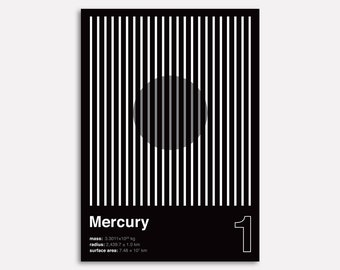 MERCURY (Wall Art, Graphic Poster, Modern Art Print, Typographic Poster, Geometric Poster)