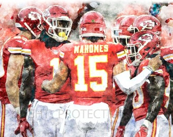 24a9f92b1a0 Patrick Mahomes Kansas City Chiefs Art Print, Limited to only 50 prints.  Signed and Numbered by the artist!