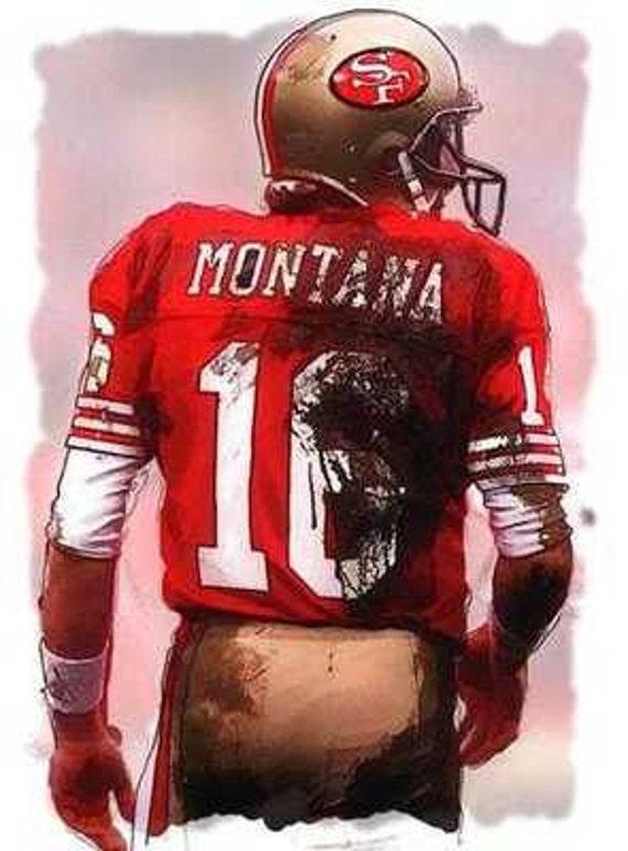 San Francisco Ts >> New Joe Montana San Francisco 49ers MVP Art Print   Etsy