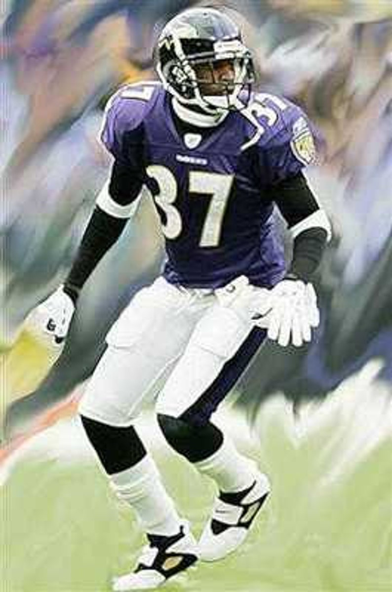 new concept 22a82 222ee Great Deion Sanders Baltimore Ravens Art Lithograph LE