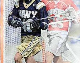 Navy Lacrosse Giclee Art Print 12x18 LE of 50