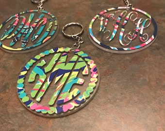 "Monogram/Personalized Acrylic 3"" Keychain with Lilly Pulitzer inspired patterns or solid colors"