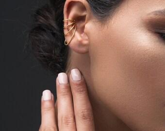 No piercing ear cuff non pierced ear cuff no piercing earcuff rose gold ear cuff, suspender earring, sterling silver ear cuff earring