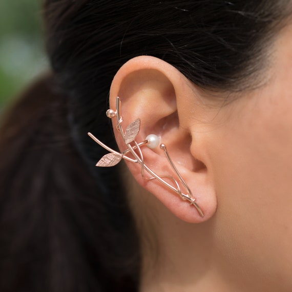 ear climber earring cuff statement earring non pierced earcuff non pierced earring elf ear cuff earring by Emmanuela Silver ear cuff no piercing gift