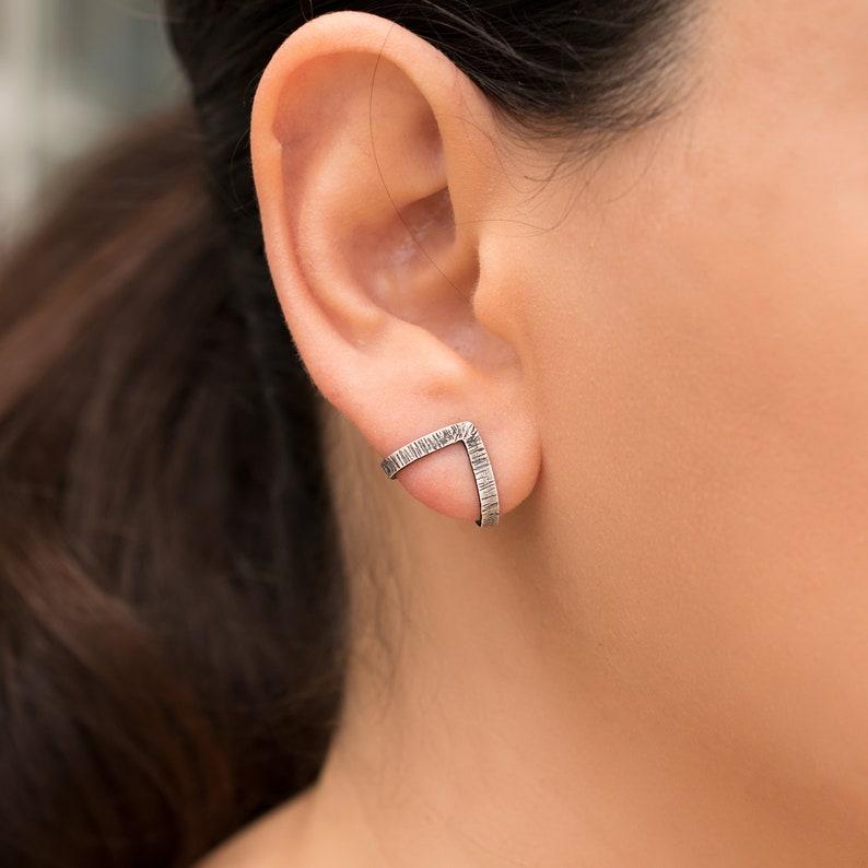 4f64e857f Sterling silver stud earrings oxidized hypoallergenic earrings | Etsy