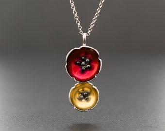 Enamel pendant jewelry, flower necklace, statement necklace, poppy necklace, flower jewelry necklace, enamel jewelry