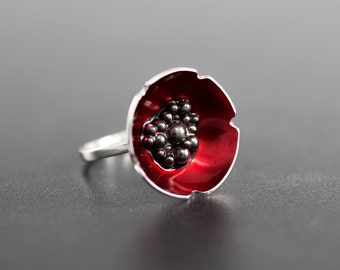 Enamel jewelry poppy ring jewelry, flower statement ring, enamel ring, unique ring, silver ring for women, unusual ring
