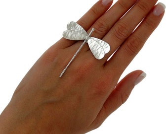 Statement ring summer jewelry, chunky ring, drangonfly ring, dragonfly gift, quirky ring, big ring, sterling silver ring for women