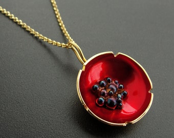 Flower pendant jewelry, statement necklace, flower necklace, floral pendant, poppy pendant, enamel jewelry, red necklace