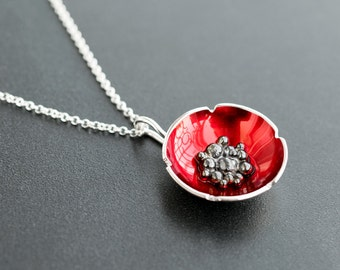 Sterling silver poppy pendant jewelry, flower necklace, enamel jewelry, enamel pendant, red flower pendant