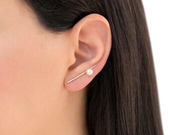Rose gold ear cuff earrings jewelry, rose gold ear climber earrings, pearl rose gold earrings, hypoallergenic ear crawler earrings