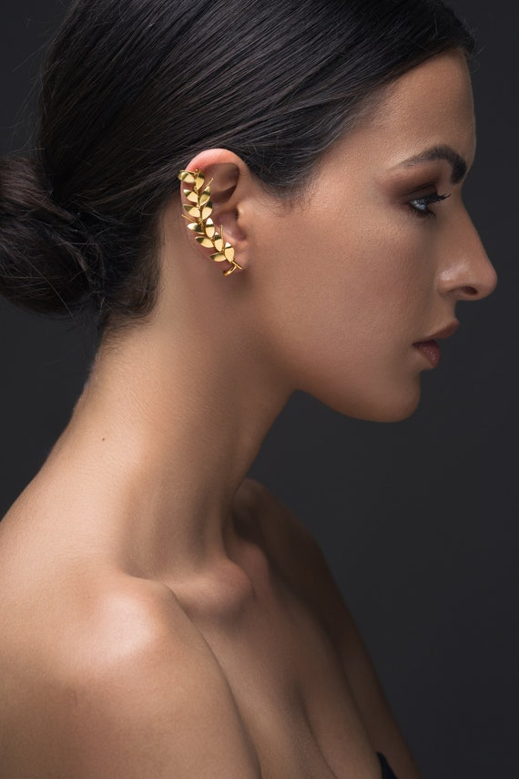Gold Earcuff Earring No Piercing Ear Cuff No Piercing Earring Etsy