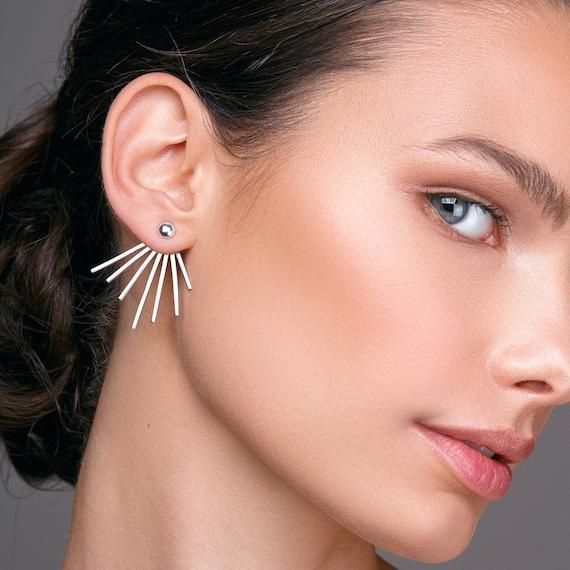 Front Back Chain Earrings Red Gold Earrings Double Piercing Two Sided Earrings