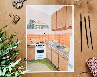 70's Kitchen A4 print