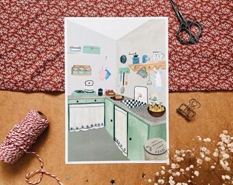 30's Kitchen A4 print