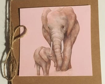 Mother and baby elephant card