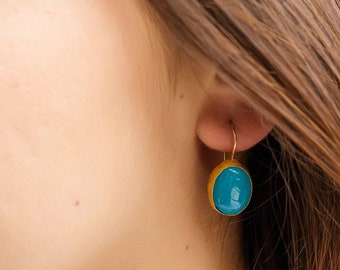 Ready to ship, Mother day gift, 24k Gold Turquoise Earrings, Turquoise Dangle Earrings, Turquoise Jewelry, December Birthstone