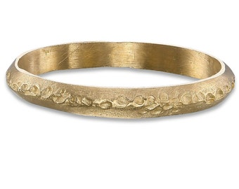 14k yellow gold wedding band, minimalist, Textured , Christams