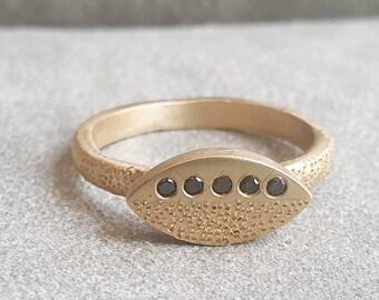 Black Diamond Engagement Ring, Marquise Shape Ring, Christmas
